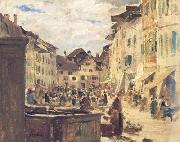 Albert Anker Market in Murten (nn02) oil
